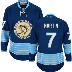 Paul Martin Pittsburgh Penguins Reebok Authentic Navy Blue Vintage New Third Jersey