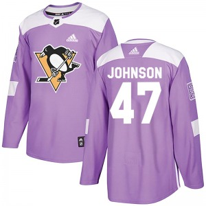 Adam Johnson Pittsburgh Penguins Adidas Authentic Purple Fights Cancer Practice Jersey