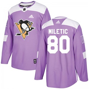 Youth Sam Miletic Pittsburgh Penguins Adidas Authentic Purple Fights Cancer Practice Jersey
